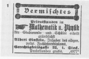 Anzeige Nachhilfe Einstein von 1902